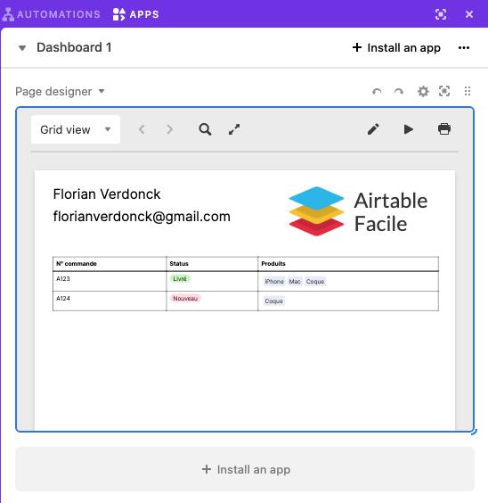 Bloc Page designer Airtable